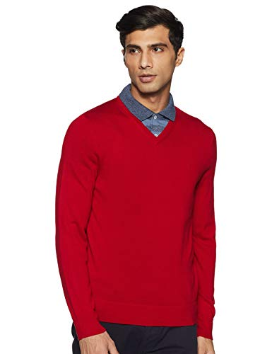 Calvin Klein Men's Merino Sweater V-Neck Solid, Jester Red, Large image 1