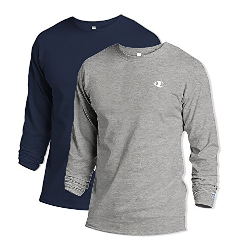 Champion T2228 100% Cotton Men's Long-Sleeve Tee Large 1 Navy + 1 Oxford Grey image 1