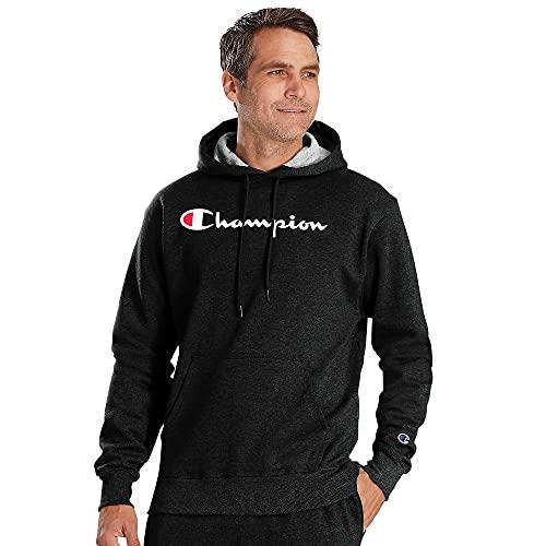 Champion Men's Graphic Powerblend Fleece Hood, Black Script, XX-Large image 1