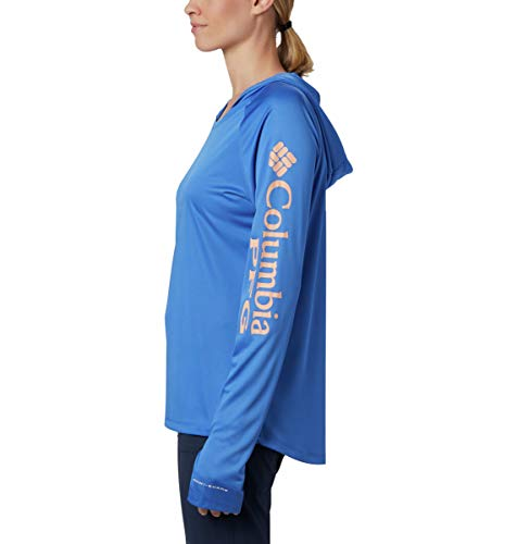 Columbia Women's Standard Tidal Tee Hoodie, Stormy Blue/Light Coral Logo, Medium image https://images.buyr.com/OV18L7E_AE3F1E02390A3AB1F8869A05CAFB1D348E2408E6330B7698102674FAF3F8D35D-5g1S-5i6J1azgd6l3ts29A.jpg1