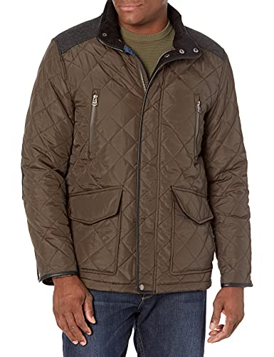 Cole Haan Men's Quilted Jacket with Corduroy Collar, Olive, Small image 1