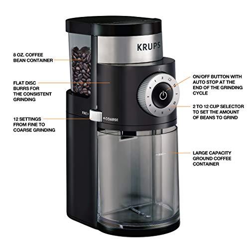 KRUPS Precision Grinder Flat Burr Coffee for Drip/Espresso/PourOver/ColdBrew, 12 Cup, Black image https://images.buyr.com/OV18L7E_B945332A9F65E6993BF89CC1C6A7BC5F836F8AC5A03873541A224FF4BD5E98DB-XHfRmFa2l2HhvDQNGntbCA.jpg1