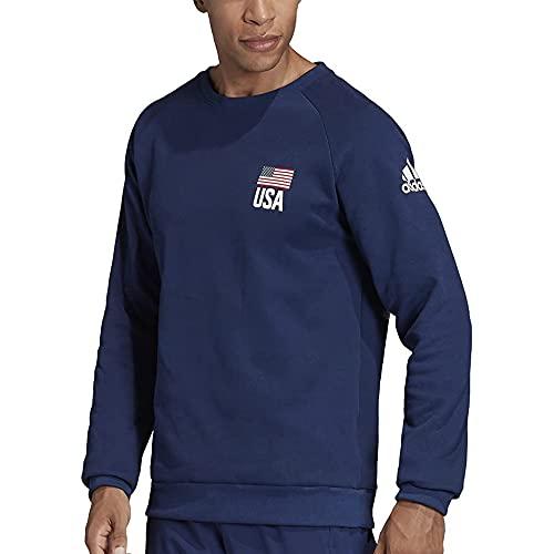 adidas Men's Essentials 3-Stripes Fleece Crew Sweatshirt (Navy Blue, Medium) image 1