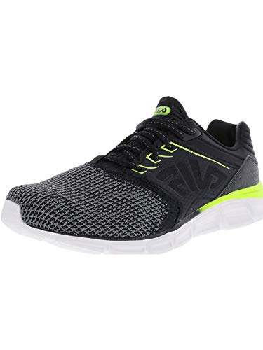 Fila Men's Memory MULTISWIFT 3 Running Shoe, Black/Safety Yellow/White, 9 Medium US image 1