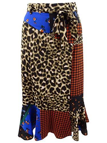Calvin Klein Women's Patchwork-Print Flare-Hem Skirt (16, Leopard Multi) image 1
