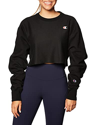 Champion Women's Reverse Weave Cropped Cut Off Crew, black, X-Small image 1
