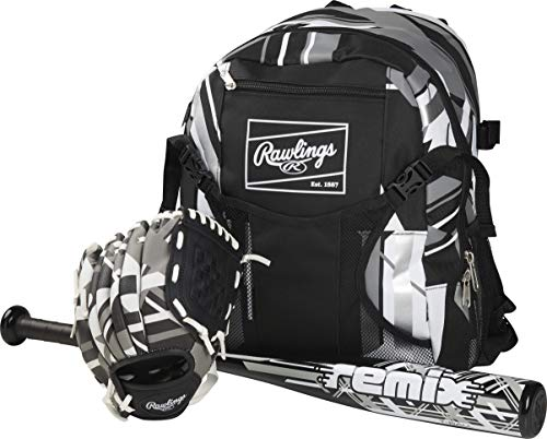 """Rawlings Remix Series Youth 9"""" Tball Glove (Right Hand Throw), 25"""" Tball Bat & Tball Backpack Bag Set (Pink/Light Blue/White) image 1"""