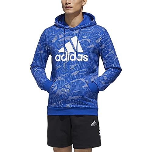 adidas mens Essentials All Over Print Hoodie Team Royal Blue/White X-Large image 1