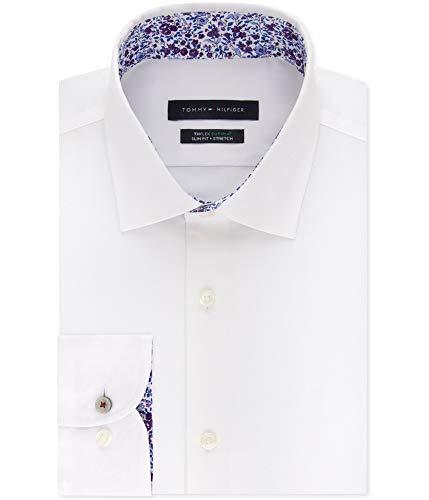 "Tommy Hilfiger Mens Supima Button Up Dress Shirt, White, 17"" Neck 34""-35"" Sleeve image 1"
