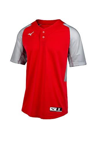 Mizuno Aerolite 2-Button Baseball Jersey, Red-Grey, XX-Large image 1