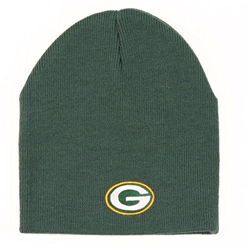 Reebok Green Bay Packers Skull Cap - NFL Green Cuffless Knit Toque Beanie Hat image 1