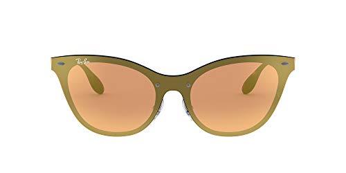 Ray-Ban Women's RB3580N Steel Cat-Eye Sunglasses, Brushed Blue/Dark Orange Gold Mirror, 58 mm image 1