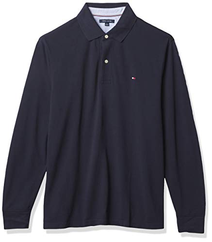 Tommy Hilfiger Men's Regular Long Sleeve Polo Shirt in Classic Fit, Sky Captain Th, Medium image 1