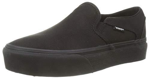 Vans Women's Asher Platform Slip-On Sneaker, Canvas Black Black, 10 image 1