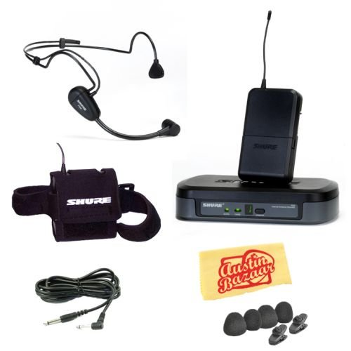 Shure PG14/PG30 Performance Gear Wireless Headset Microphone System Pack with Transmitter Arm Pouch, Instrument Cable, Tie Clips, Mini Windscreens, and Polishing Cloth - M7 Frequency image 1