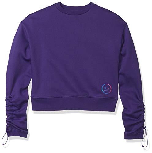 A X Armani Exchange Women's Solid Sweatshirt with Small Circular Logo, Morositas, S image 1