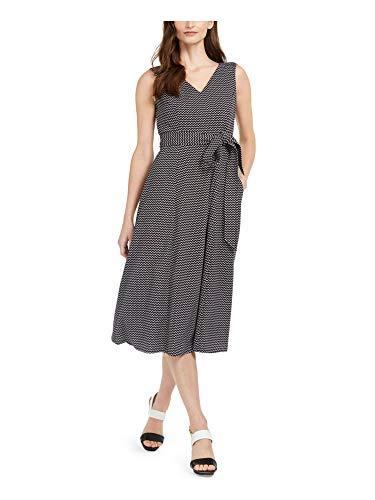 Calvin Klein Women's Plus Size Sleeveless V Neck Midi Dress with Self Sash Waist, Black White, 6 image 1