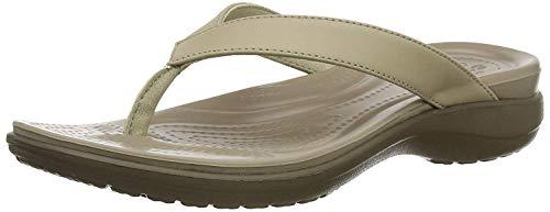 Crocs Capri V Flip Flops | Sandals for Women, Chai/Walnut, 4 image 1
