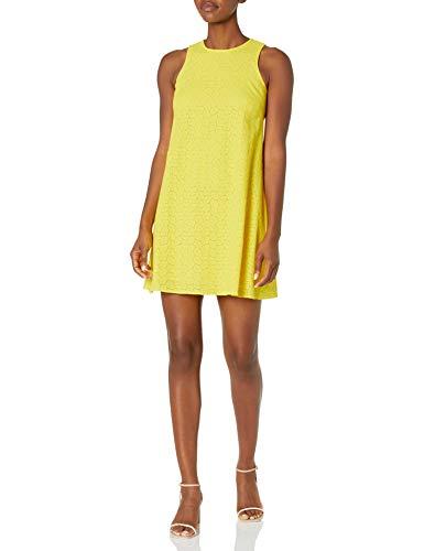 Calvin Klein Women's Sleeveless Round Neck Trapeze Dress, Canary (Eyelet), 2 image 1