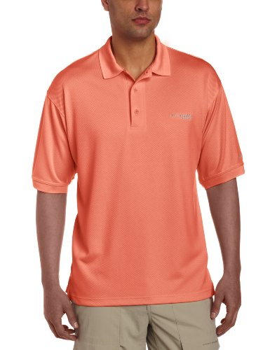 Columbia Men's PFG Perfect Cast Polo Shirt, Breathable, UV Protection, Small, Bright Peach image 1