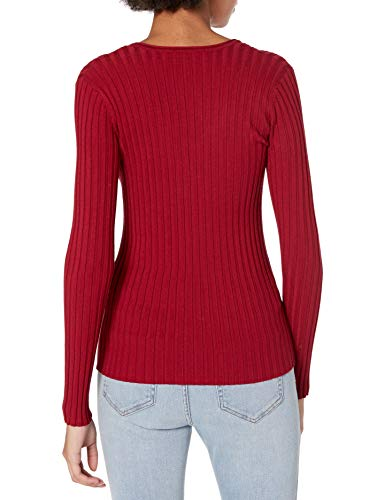 Emporio Armani Women's Rib Knit V-Neck Sweater, Red, 52 image https://images.buyr.com/UHaU9XdAZsVsRkuFvBpNNA.jpg1