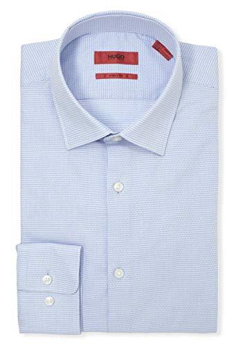Hugo Boss Men's Mabel Sharp Fit Tonal Check Dress Shirt (17 x 34/35, Navy) image 1