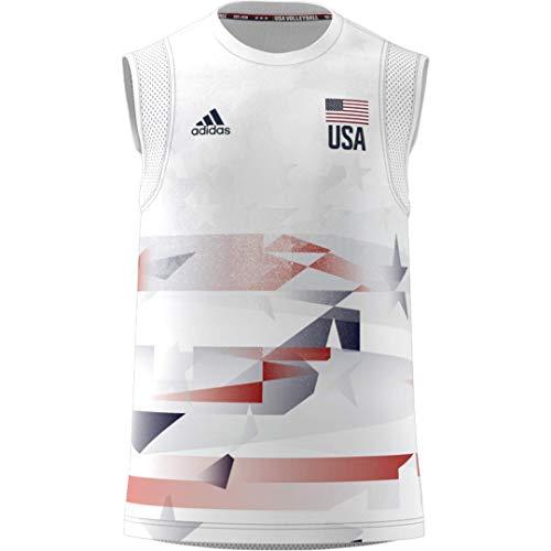 adidas Mens USA Volleyball Jersey Primeblue White/Team Navy Blue M