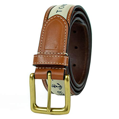 Tommy Hilfiger Men's Ribbon Inlay Belt - Ribbon Fabric Design with Single Prong Buckle, Khaki, 56 image 1