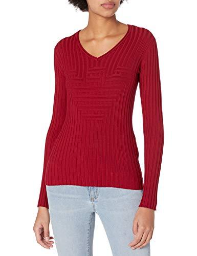 Emporio Armani Women's Rib Knit V-Neck Sweater, Red, 52 image 1