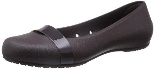 crocs Women's Brynn W Ballet Flat, Stucco/Black, 6 B(M) US image 1