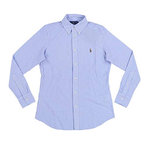 Ralph Lauren Womens Knit Oxford Shirt (X-Small, Blue White Thin Stripe) image 1