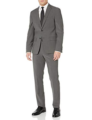 DKNY Men's Two Button Slim Fit Stretch Suit, Deep Gray, 48 Regular image 1