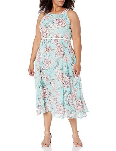 Tommy Hilfiger Women's Chiffon Midi Dress, Seaspray Multi, 16 image 1