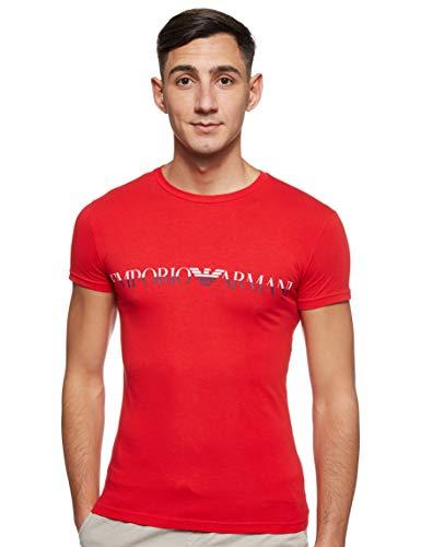 Emporio Armani Men's Megalogo Crew Neck T-Shirt, Red, X-Large image 1