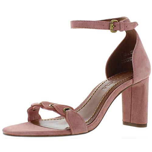 COACH Heel Sandal Peony Link Leather Suede 9 image 1