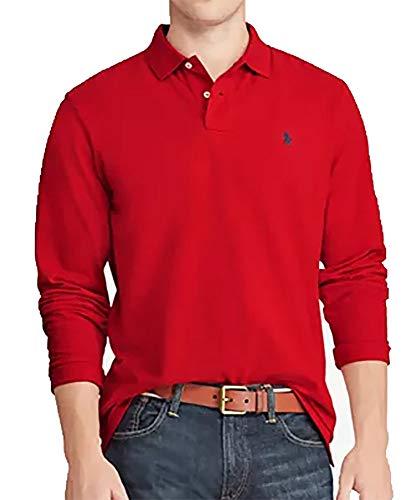 POLO RALPH LAUREN Men's Long Sleeve Mesh Polo Shirt (Medium, RL Red) image 1