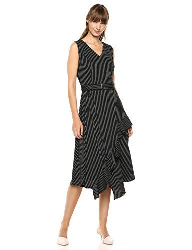 Calvin Klein Women's Belted Dress with Ruffles, Black/White Stripe, 6 image 1