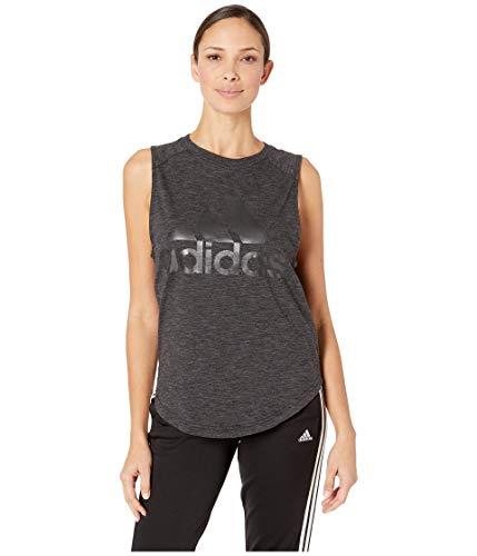 adidas womens ID Winners Muscle Basketball Long Length Sleeveless Training Tank T-Shirt, Black/White, X-Small image 1
