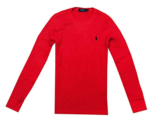 Polo Ralph Lauren Men Waffle Knit Thermal Crew Shirt Blouse (M, Red) image 1