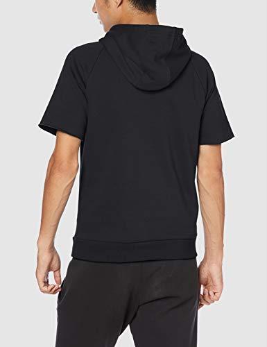 Under Armour Rival Fleece Logo Short-Sleeve Pullover Hoodie, Black (001)/White, Small image https://images.buyr.com/xfcVotRvdBxinmYIslUVCA.jpg1