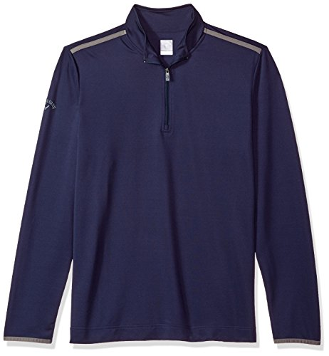 Callaway Women's Golf Chest Stripe Long Sleeve 1/4 Zip Mock Pullover, Peacoat, Small image 1
